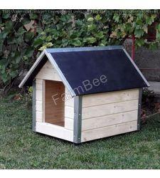 Cusca caine AC neizolata / lambriu lemn natural / acoperis carton bituminat (marime 1)