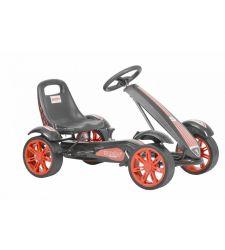 Kart cu pedale rabatabile pentru copii, negru cu portocaliu, Hecht 50200