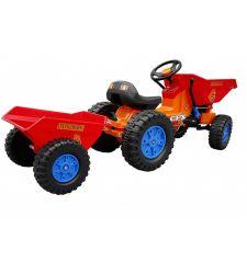 Tractor cu pedale pentru copii, cu remorca si cupa, 2 manete,  Hecht 51412