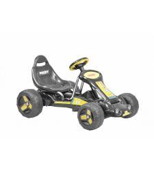 Kart cu pedale pentru copii, tuburi otel, negru cu galben, Hecht 59789